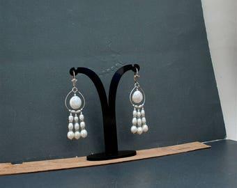 Long Dangle White Pearl Earrings, Freshwater Pearl Chandelier Earrings, Solid Sterling Silver Pearl Earrings, Unique Handmade Earrings
