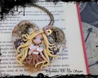 Ooak doll steampunk heart (necklace)