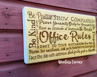 Office decor, Office Rules, Office quotes, Office signs, Rustic office decor, rustic wood signs, Rules for the office, WOOD BURNED decor