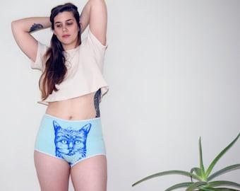 Organic Cat Underwear, Womens Princess Kitty Panties, High Waisted, lingerie, Pussycat, Organic Clothing, Cat Lady, Handmade in Detroit,
