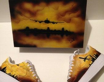 """Custom Nike Air Force 1, Men's Sneakers, """"Looking For the Right Flight"""", Custom Painted Sneakers, Custom Sneakers, Low Top Sneakers"""