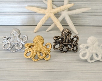 Octopus Drawer Knobs. Octopus Knob. Octopus Handle. Cabinet Knob. Dresser Knob. Beach Decor. Nautical Decor. Coastal Decor.