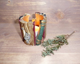 Vintage Candle Holder, Resin Candle Holder, Books and Mouse, Vintage Candlestick, Vintage Home Decor