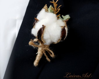 Cotton Blossom Boutonniere Wedding Boutonniere Rustic Boutonniere Grooms Boutonniere Cotton Ball Boutonniere Country Wedding