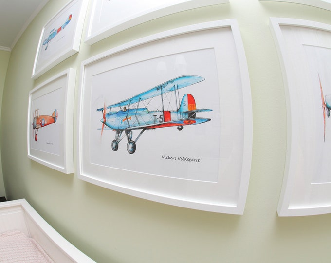 Airplane print Set ANY 4 prints Military aircraft Watercolor Poster Boy's art Vintage airplane painting Baby boy nursery wall art