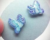 Resin barn owl earrings, tiny stud earrings with glitter, hand drawn ooak fairy owls, hypoallergenic earrings, shrinky dink chicorydellarts