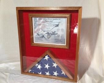 Sapeale Mahogany  Hardwood Memorial Flag and Certificate Display Case