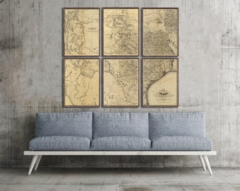 "Map of Texas 1867, Vintage Texas map reprint - 2 sizes up to 54x48"" in 6 sections in 3 three colors"