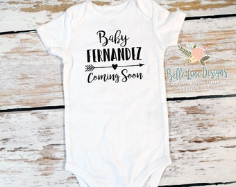 Baby Coming Soon with Arrow Onesie | New Baby | Expecting Baby Onesie | Baby To Be | Pregnancy Surprise | Pregnancy Announcement | 238