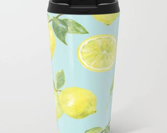 Lemons Metal Travel Mug - Citrus Travel Mug - Blue and Yellow Stainless Steel Travel Mug With Lid - Gift For Women - Aldari Home