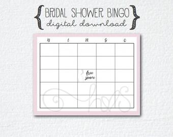 Pink Grey/Gray Bride Bridal Bingo, Bridal Shower Game - Bridal Gift Bingo