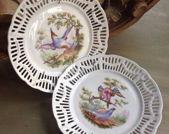 Pair of openwork china plates