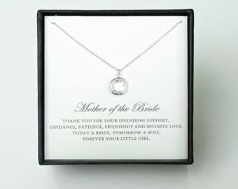 Mother of the Bride Gift from Daughter - Silver Glass Necklace, Wedding Jewelry & Thank You Card/ Wedding Day Gift for Mother from Bride