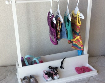 American Girl -  Clothing Rack, Shoes and Storage Box