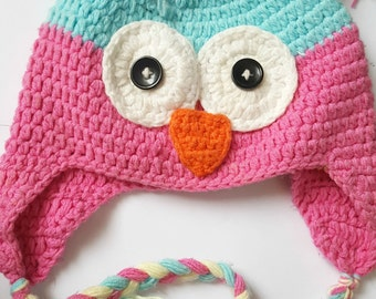 Crochet Toddler Owl Hat with Ear Flaps (Girls)