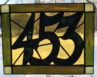 Custom made stained glass house number signs
