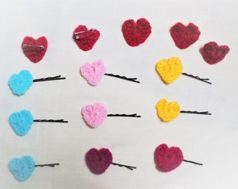 Crocheted Heart Hair Pins and Brooches