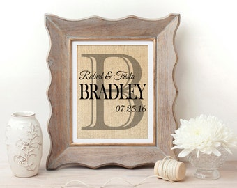 Personalized Burlap Print | Burlap Monogrammed Wall Art | Burlap Art | Couples Last Name Print | Family Name Sign | New Home | Housewarming