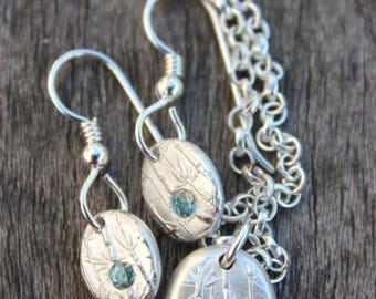 zircon jewelry set, zircon pendant and earrings, blue zircon jewellery set, december birthday jewelry, december birthstone jewellery