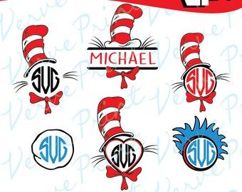 Dr Seuss Svg, Seuss Monogram Svg, Cat In The Hat Svg, Ai, Eps, Pdf, Png Cutting file, Silhouette Clip Art svg Commercial use