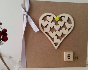 6th Anniversary Card for Wife, Girlfriend, Husband, Boyfriend, Partner : Beautiful Handmade Card for Sixth Wedding Anniversary