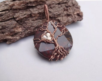 Jasper Necklace- Tree of Life Necklace- Robin Nest necklace- wire wrapped Tree of Life-Gemstone pendants