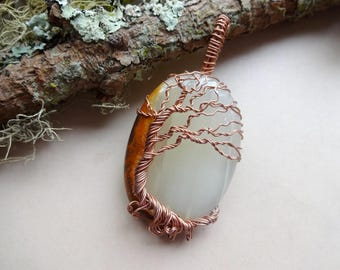 Onyx Necklace- Tree of Life wire wrapped pendant - wrap necklace - Gemstone Pendants