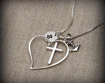 Cross heart anchor necklace, Religious necklace, Inspirational necklace