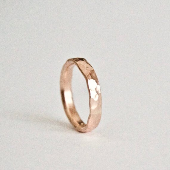 Wedding Ring in 9 Carat Rose Gold - Hammered Texture Wedding Band