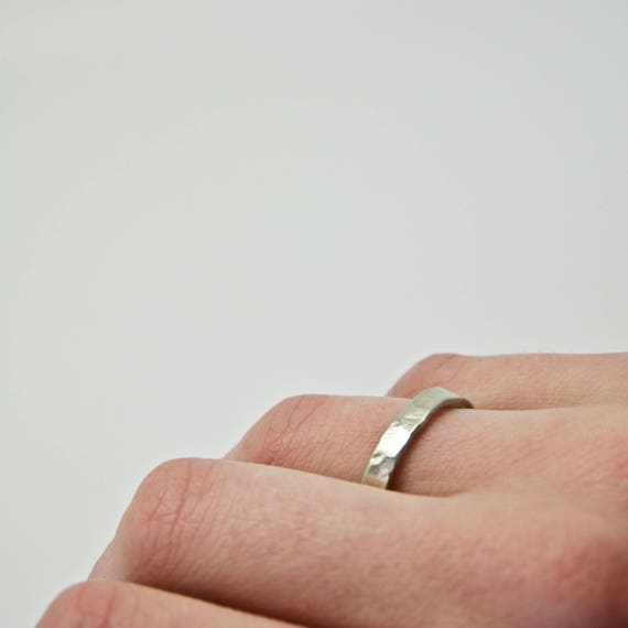 White Gold Hammered Ring - 9 Carat - Flat Hammer Textured Wedding Band