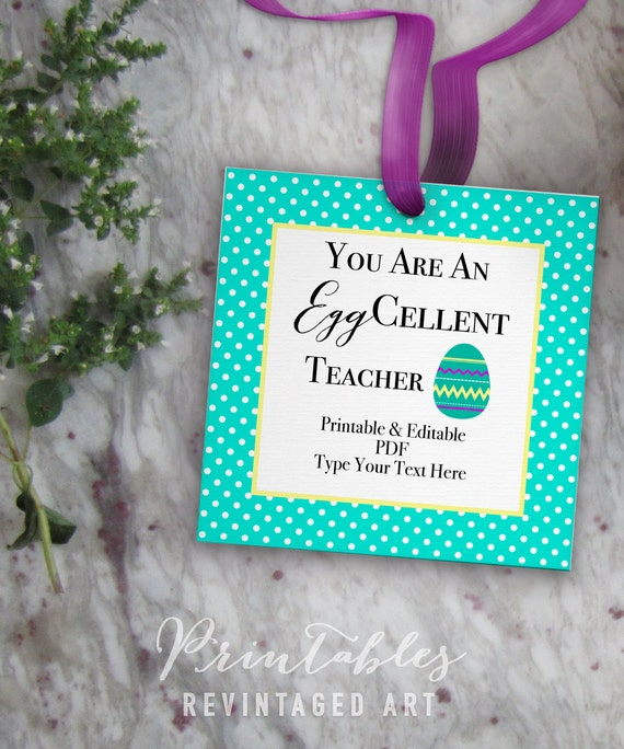 Easter teacher tags you are an eggcellent teacher printable easter teacher tags you are an eggcellent teacher printable easter gift tag template 3 inch 3x3 editable pdf diy digital printable tags negle Gallery