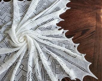 Lace shawl,  square shawl, Orenburg shawl, baby heirloom throw, baby throw, baby lace blanket,