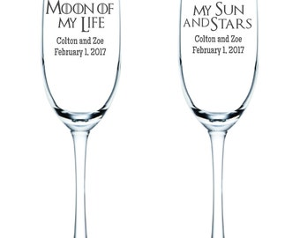 Game of Thrones Flutes - Moon of My Life - My Sun and Stars - Personalized - Glassware - Toasting Flutes  - Glasses - Wedding