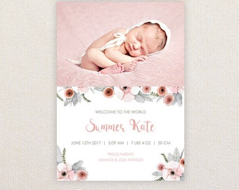 Girls Photo Birth Announcement. I Customize, You Print. Pink and Grey Florals.