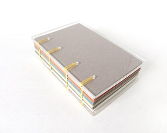 Clear Acrylic Coptic Small Sketchbook with Toned Pastel Paper, Unique Unlined Handbound Notebook with Transparent Covers, Gift for Artist
