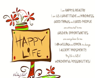 Happy Life Affirmation (postcard style)