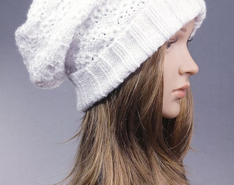 Slouchy Hat, Slouch Beanie, Slouchy Knit Hat, Knit Slouchy Hat, Cabled Slouch Beanie, Knit Beanie,knit slouchy beanie,  White Slouch Hat