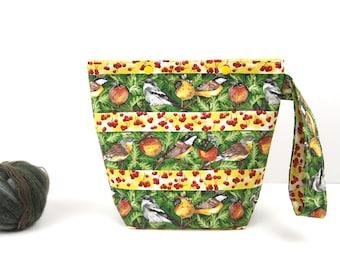 Bird knitting project bag, twitcher sock project bag, snap knitting bag