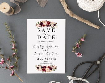 Save the date Template printable, Save the date postcard Template, Marsala Save the date, Burgundy Save the date postcard Template, FL16