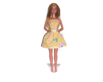 Fashion Doll Clothes-Yellow Easter Bunny Print Strapless Party Dress