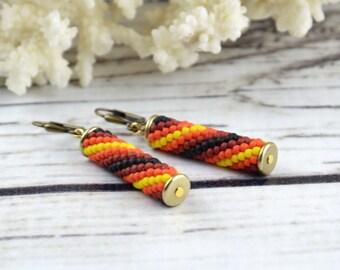 Orange earrings Ethnic earrings for women Beaded dangle earrings Seed Bead Earrings African Jewelry Boho Jewelry birthday gift for sister
