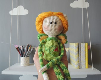 Personalized Kids Doll Elf Shelf Stuffed Doll Crochet Amigurumi Kids Gift Ideas Soft Toy Unique Baby Gift Valentines Day Girl Nursery Decor