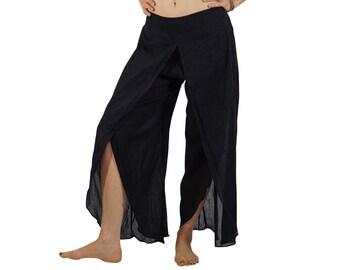 COTTON SPLIT PANTS Black- Pirate Costume, Gypsy, Yoga, Flared, Renaissance Festival, Belly Dancing, Burning Man, Breezy, Lightweight Cotton