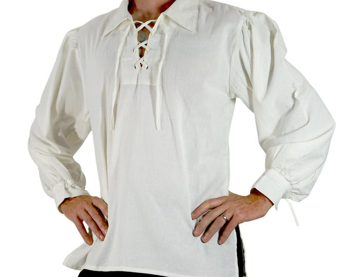 Featured listing image: MERCHANT SHIRT CREAM - Steampunk, steampunk shirt, with laces, renaissance tunic, pirate shirt, medieval clothing, pirate costume, sca garb