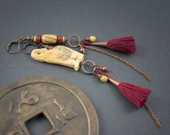 Asymmetrical Earrings • Long Tribal Carved Bone Elephant Earrings • Tassel Earrings • Ethnic Long Dangles And Chain • Asian Pom Pom Earrings