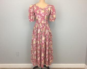 Floral Dress Victorian Romantic V Back Dress Garden Party Pink Dress Puff Sleeves Cotton Laura Ashley Size 8 Dress Medium Womens Clothing