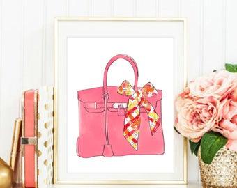 Fashion Print. Hermes Print. Hermes Birkin Bag. Fashion Illustration. Modern Home Décor.
