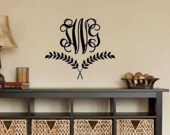 Laurel Wreath Wall Decal Wreath Vinyl Decal Monogram Wall Decal Family Monogram Vinyl Decal Personalized Family Monogram Vinyl Wall Decal