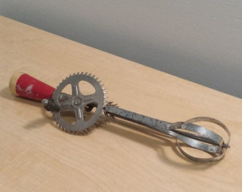 Red A&J Hand Mixer, Egg Beater, vintage Cooking Utensil, Hand Tool, primitive wood and metal kitchenalia
