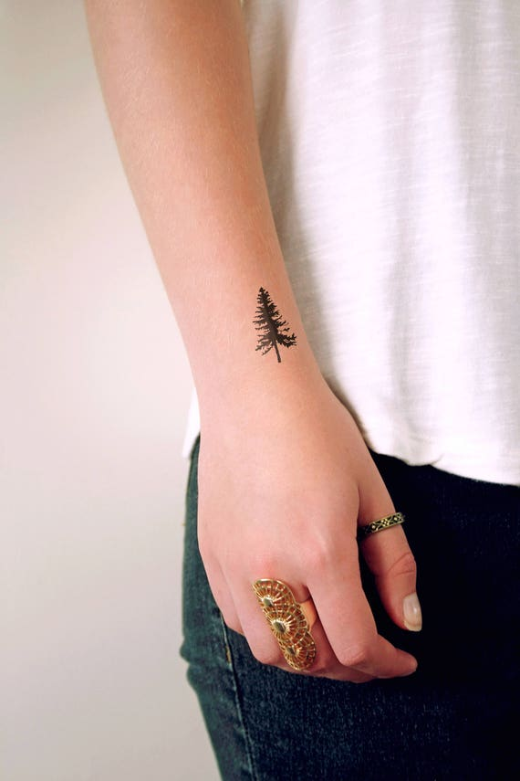 pine tree temporary tattoo pine tree tattoo boho tattoo. Black Bedroom Furniture Sets. Home Design Ideas